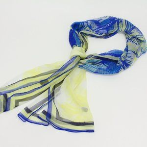 Vintage Sheer Blue & Yellow Design Scarf